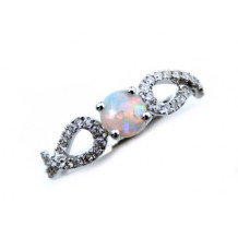 YCH 14k White Gold Opal and Diamond Ring