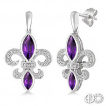 Ashi Diamonds Silver Gemstone Fleur De Lis Earrings