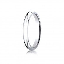 10K White Gold Benchmark 3mm Slightly Domed Standard Comfort-Fit Wedding Band