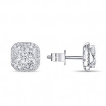 Luvente 14k White Gold Diamond Halo Stud Earrings