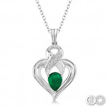 Ashi Diamonds Silver Gemstone Heart Pendant