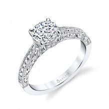 0.23tw Semi-Mount Engagement Ring With 1ct Round Head