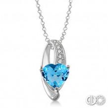 Ashi Diamonds Silver Heart Gemstone Pendant