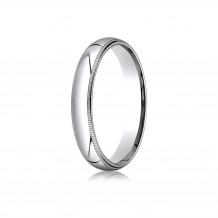 10K White Gold Benchmark 4mm Slightly Domed Standard Comfort-Fit Wedding Band with Milgrain