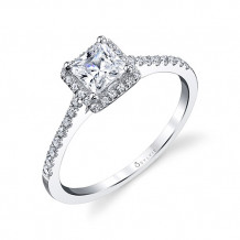 0.23tw Semi-Mount Engagement Ring With 4.5X4.5 Princess Head
