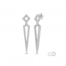 Ashi 14k White Gold Long Diamond Earrings