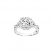 True Romance Platinum 0.53ct Diamond Double Halo Semi Mount Engagement Ring