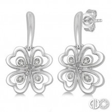 Ashi Diamonds Silver Heart Cluster Earrings