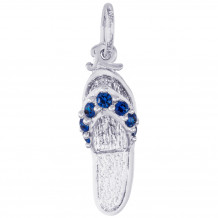 Sterling Silver Sandal - Blue Sapphire Charm