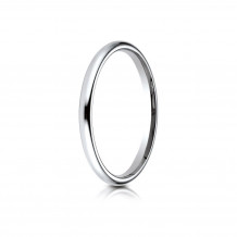14K White Gold Benchmark 2 mm Slightly Domed Standard Comfort-Fit Wedding Band