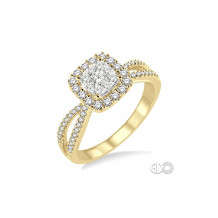 Ashi 14k Yellow Gold Square Shape Round Cut Diamond Lovebright Ring