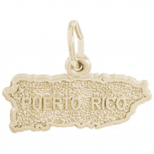 14k Gold Puerto Rico Map Charm