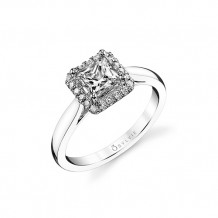 0.16tw Semi-Mount Engagement Ring With 5.5X5.5 Princess