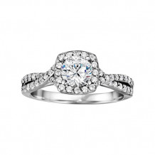 True Romance 14k White Gold 0.48ct Diamond Halo Semi Mount Engagement Ring