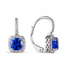 Luvente 14k White Gold Tanzanite and Diamond Earrings