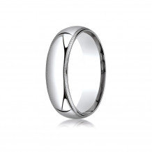14K White Gold Benchmark 6mm Slightly Domed Standard Comfort-Fit Wedding Band with Milgrain