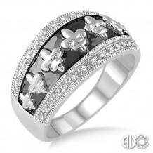 Ashi Diamonds Silver Fleur De Lis Ring