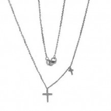 Luvente 14k White Gold Double Cross Diamond Necklace
