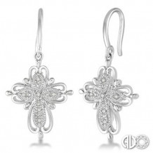 Ashi Diamonds Silver Cross Earrings