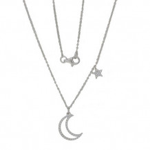 Luvente 14k White Gold Diamond Moon and Star Necklace