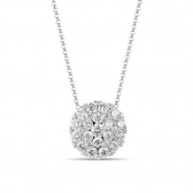 Luvente 14k White Gold Round Diamond Necklace