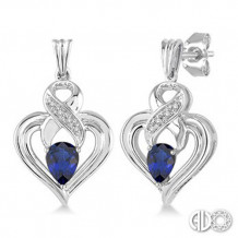 Ashi Diamonds Silver Gemstone Heart Earrings