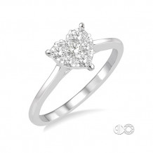 Ashi 14k White Gold Round Cut Diamond Heart Shape Lovebright Ring