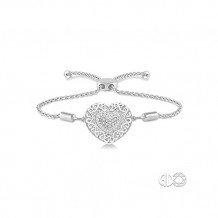 Ashi Sterling Silver White Single Cut Diamond Heart Bracelet