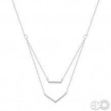 Ashi 10k White Gold BAR/V-SHAPE Diamond Necklace