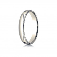 10K Yellow Gold Benchmark 4mm Slightly Domed Standard Comfort-Fit Wedding Band with Milgrain