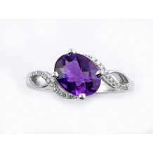 YCH 14k White Gold Amethyst and Diamond Ring