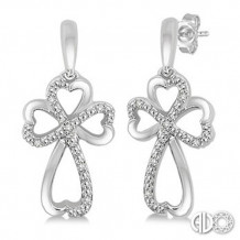 Ashi Diamonds Silver Cross Heart Earrings