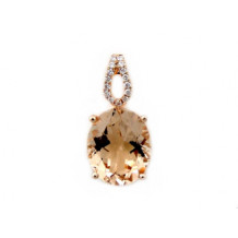 YCH 14k Rose Gold Morganite and Diamond Pendant