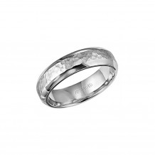 ArtCarved 14k White Gold Hammered Wedding Band