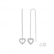 Ashi 10k White Gold Heart Thread Diamond Earrings