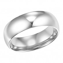 Goldman 14k White Gold Ladies 7mm High Polished Wedding Band