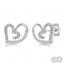 Ashi Diamonds Silver Heart Earrings