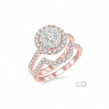 Ashi 14k Rose Gold Round Shape Diamond Lovebright Wedding Set