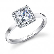 0.27tw Semi-Mount Engagement Ring With 1ct  Princess Head