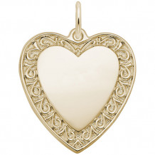 Rembrandt 14k Yellow Gold Swirly Edge Heart Charm